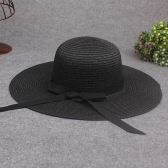 New Elegant Women Straw Sun Hat Bowknot Wide Large Brim Foldable Casual Summer Holiday Cap