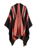 Vintage Women Faux Cashmere Knitted Poncho Shawl