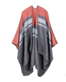 Vintage Women Knitted Shawl Poncho Faux Cashmere Stripe Pattern Oversized Long Bohemia Cape