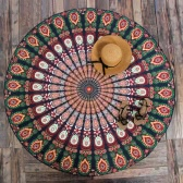 Women Round Beach Towel Bohemian Printed Tapestry Throw Yoga Mat Picnic Blanket Bathing Suit