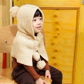 Cute Baby Boy Girl Wraparound Knitted Hat Bobble Top Button Sweet Shawl Cape