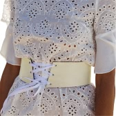 New Fashion Women Vintage PU Leather Waist Belt Self-tie Waistband Waist Strap White/Pink