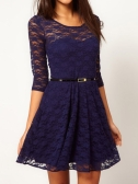 Fashion Women Lady Sexy Lace Skater Dress Half Sleeve Scoop Neck Dark Blue
