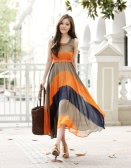 Fashion Bohemian Women Lady Dress Chiffon Chromatic Stripe Asymmetric O-Neck Sleeveless Summer Beach Orange