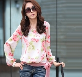 New Fashion Women Chiffon Shirt Floral Print Long Sleeve Blouse Top Casual Red