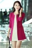 Trendy Women Medium-long Blazer Slim Outerwear Long Sleeve Overcoat Rose