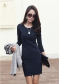 Fashion Elegant Women Sexy Mini Dress Long Sleeve Slim OL Pencil Dress Dark Blue