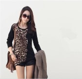 Fashion Trendy Women T-shirt Long Sleeves Leopard Print Loose Blouse Tops Black