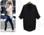 New Fashion Women Chiffon Shirt Turn-down Collar Long Sleeve Loose Top Blouse Black