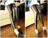 Sexy Women PU Leggings Elastic Waist Stretchy Skinny Pants Trousers Black