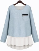 Fashion Women Faux Two-piece Crew Neck Long Sleeve T Shirt Tops Pullover Blue