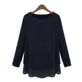 New Fashion Women Faux Two-Piece Long Sleeve Chiffon and Knit Tops Loose Pullover T-Shirt Black
