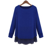 New Fashion Women Faux Two-Piece Long Sleeve Chiffon and Knit Tops Loose Pullover T-Shirt Blue