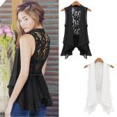 Sexy Fashion Women Blouse Sheer Chiffon Lace Back Sleeveless Vest Tops Black