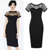 Sexy Fashion Women Pencil Dress Mesh Bodycon Party Clubwear Black