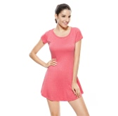New Korean Women Girl Mini Dress Short Sleeve Candy Color One-piece Slim Basic Dress Watermelon Red