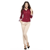 New Fashion Women OL Shirt Long Sleeve Turn-down Collar Button Blouse Tops Burgundy/White