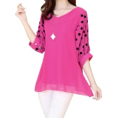 Fashion Women Chiffon Blouse Polka Dot Batwing Sleeve V-Neck Loose Shirt Tops Rose