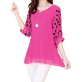 Fashion Women Chiffon Blouse Polka Dot Batwing Sleeve V-Neck Loose Shirt Tops Rose