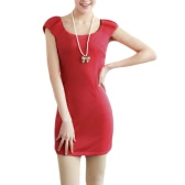 Fashion Women Slim Dress Crew Neck Cap Sleeves Fitted Elegant Dress Red