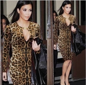 Sexy Women Pencil Dress Leopard Print Keyhole Long Sleeve Stretch Party Bodycon Dress Brown