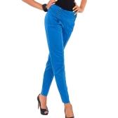 Hot Women Stretch Trousers Zipper Decoration Skinny Slim Pencil Pants Leggings Royal Blue