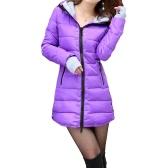Autumn Winter Women Padded Parka Hooded Coat Zipper Pockets Long Slim Jacket Warm Outerwear Purple