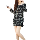 Korean Fashion Women Slouchy T-Shirt Letter Print Scoop Neck Knitted Long Shirt Pullover Tops Black