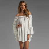 Europe Fashion Women Boho Chiffon Dress off the Shoulder Flare Sleeve Sexy Mini Dress White
