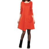 New Fashion Women Dress Patchwork Pocket Split Front Irregular Hem Crew Neck Long Sleeve Loose Dress