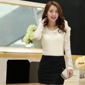 Fashion Women Lady Slim T-shirt Floral Lace Bead Crew Neck Long Sleeves Blouse Tops