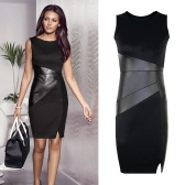 New Celebrity Women Dress PU Patchwork Crew Neck Sleeveless Elegant Slim Party Dress Black