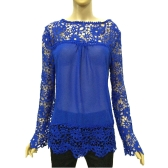 New Fashion Women Chiffon Blouse Lace Crochet Embroidery Sheer Sleeve Tee Tops Shirt White/Blue/Yellow