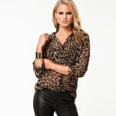 Sexy Women Chiffon Shirt Leopard Print Semi-sheer Blouse Long Sleeve Loose Casual Top Brown