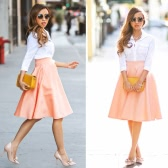 New Fashion Women Skirt High Waist Flared A-Line Dress Pink