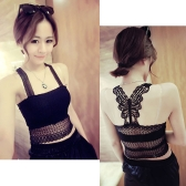 Sexy Women Crop Top Crochet Butterfly Back Lace Tube Top Vest Camisole Tank Top Black/White