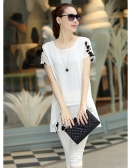 New Fashion Women Chiffon Blouse Embroidery Crew Neck Short Sleeve Loose Fit Casual Tops White/Black