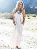 Fashion Women Maxi Dress Solid Color Spaghetti Strap Plunge V Neck Side Pocket Loose Beach Dress White