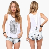 New Fashion Women Tank Top Print Split Back Crew Neck Sleeveless Casual Tops Blouse White