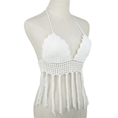 New Fashion Women Crop Top Crochet Halter Neckline Lined Cups Tassel Hem Sexy Kintted Bra