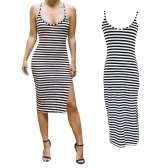 Fashion Women Midi Dress Stripe Pattern Spaghetti Strap Open Back Side Split Bodycon Dress Black