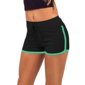Fashion Women Sports Shorts Contrast Binding Elastic Waist Yoga Shorts