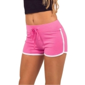 Fashion Women Sports Shorts Contrast Binding Side Split Elastic Waist Yoga Shorts