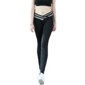 Fashion Women Stretch Leggings Contrast Color Elastic Waist Gym Sport Running Pants Trousers