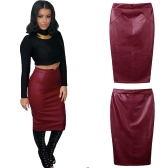 Europe Sexy Women Skirt PU Leather Solid Color Midi Pencil Skirts OL Casual Slim Clubwear Burgundy