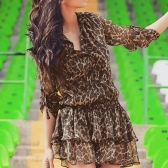 Fashion Women Chiffon Mini Dress Leopard Turn-down Collar Long Sleeve Elastic Waist Layered Dress Brown