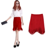 New Women Skirt Faux Suede Tassel Irregular Hem Zipper Midi Pencil Skirts OL Vintage Slim Clubwear Red