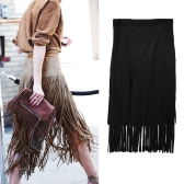 Flapper Women Suede Fringed Skirt High Waist Wiggle Midi Skirt Black/Khaki