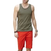 Fashion Men Tank Tops Crew Neck Sleeveless Sports Causal Vests Army Green