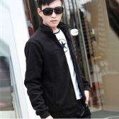 Fashion Men Thin Coat Stand Collar Long Sleeves Zipper Solid Color Casual Jacket Outerwear Black